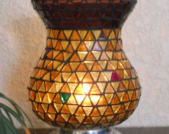 Stained Glass Mosaic  Candle Holder, Mothers Day Gift,Flower Vase, Stained Glass Candle Holder, Mosaic Votive, Hurricane Candle Holder