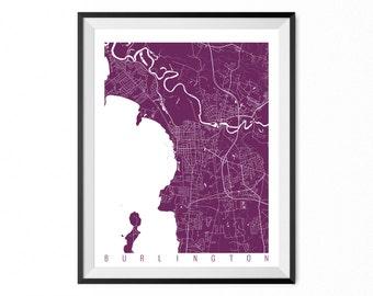 BURLINGTON Map Art Print / Vermont Poster / Burlington Wall Art Decor / Choose Size and Color