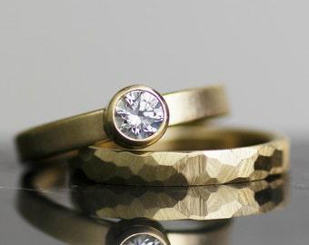 modern wedding band set, stacking wedding ring set, faceted gold and diamond engagement ring, womens wedding ring, womens wedding band