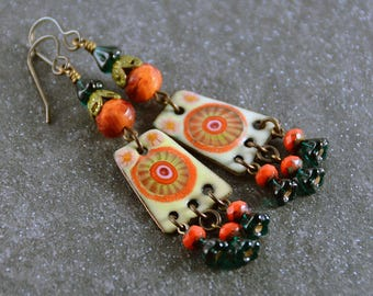 Summer Days Enameled Copper Charms Vintaj Patina Czech Beads Earrings