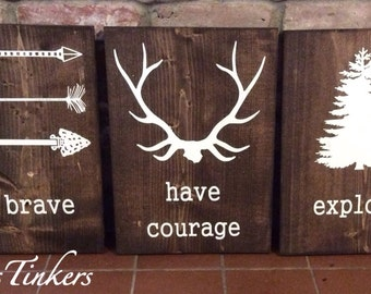 Perfect Be Brave. Have Courage. Explore. Set Of 3 Wood Painted Signs. Nursery