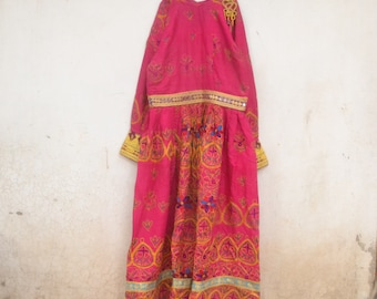 Vintage Afghanistan Pashtun dress, pink, kuchi, tribal, gypsy, nomad, embroidery, Afghani. pakistan, antique, party, gold, indian, banjara