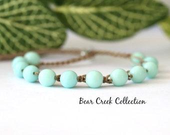 Mint, Boho Bead Bracelet, Light Green, Round Glass Beads, Stacking, Layering, Crochet Jewelry, Boho Style, Bohemian, Cord Bracelet