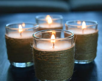 12 Votive Candles - Natural Jute