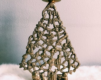 Vintage Brass Christmas Tree Candlestick Holder
