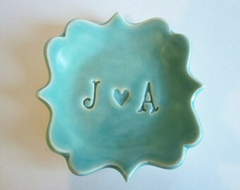 Mr and Mrs  ring holder, gift for Bridal shower, future Mrs gift ring dish engagement gift, ceramic ring dish, Made to Order
