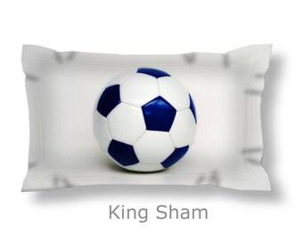Soccer Pillow Sham-Sports Bedding-Microfiber PIllow Sham-Standard Bed Sham-King Sham-Pillow Cover-Girls/Boys Bed Accent-Dorm Room Bedding