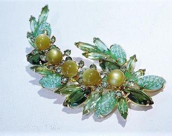 Juliana Brooch / BOOK PIECE / Verified DeLizza Elster Rhinestone Brooch / Mid Century / Designer / Fashion / Jewelry