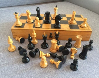 Old wooden soviet chess set small vintage USSR 1963 made