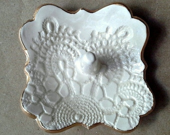 Ceramic Ring Holder Dish OFF WHITE lace edged in gold ring holder