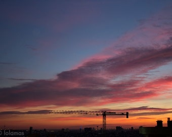 Wall Art, Sunset photography, Dorm decor, affordable art, Barcelona print, urban art, Landscape photo, city photo, clouds