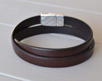 Leather Bracelet, Leather Wristband, Wrap Leather Bracelet, Chocolate Brown Leather