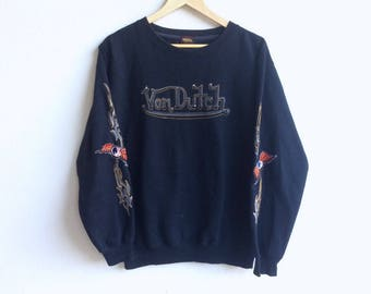 American Brand since 1999! Kustommade VON DUTCH ORIGINAL big logo sweatshirt black colour large size