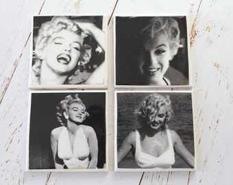 Marilyn Monroe Coasters/ Black and White Movie/ Marilyn Monroe Home Decor/ Gift set