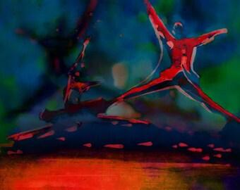 Dramatic dance print Limited edition digital print of two ballet dancers in a pas de deux, each performing a Grand Jeté