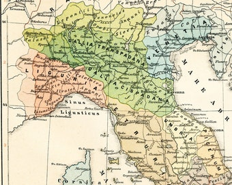 Ancient Italy historical map  Italy before Augustus map Italy pre Roman Empire map 19th century map Antique 1890s lithograph