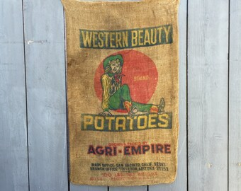 Vintage Potato Sack; Western Beauty Potatoes Burlap Sack; Burlap Potato Sack