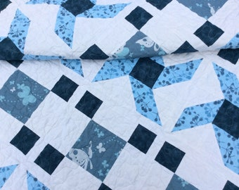 Modern Lap Quilt, Large Lap, Handmade Throw, Blue Blanket, Homemade Quilts for Sale, Ready to Ship
