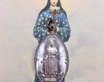 SAINT DYMPHNA MEDAL Vintage Religious For Mental Strain & Worry Italy
