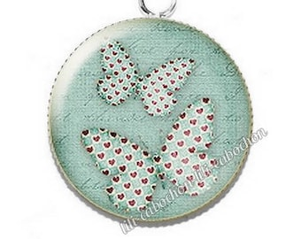 Pendant cabochon resin text flowers butterflies 4 hearts