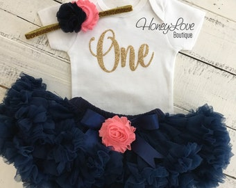 Personalized 1st Birthday outfit, one number 1 tiara crown princess gold glitter shirt bodysuit, navy coral pink tutu skirt flower headband