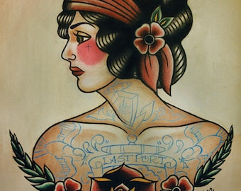 Old School Flapper Tattoo Flash
