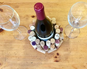 Cork wine bottle holder, wine holder, center piece, wine, corks, red wine, white wine, art by carole, art by carole store, gifts, storage