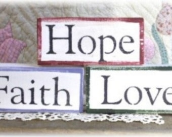 Wood Blocks Faith, Hope Or Love Shelf Sitter Sign