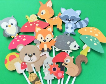 14 Woodland animals cupcake toppers, woodland animal toppers, animal toppers, bear, rabbit, deer, squirrel, raccoon, owl, porcupine