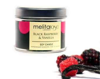 Black Raspberry & Vanilla Soy Scented Candle Tins