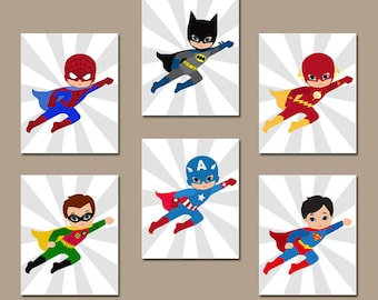 SUPERHERO Wall Art, INSTANT DOWNLOAD Superhero Wall Decor, Digital Files,  Set Of 6