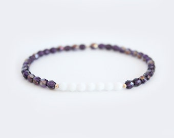 Tanzanite and White Beaded Bracelet - Gold Filled or Sterling Silver - Naeva