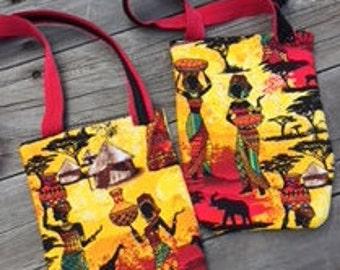 Women in African Village Scene Handmade Cross Body Bag/Purse FREE SHIPPING