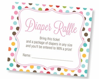 Diaper Raffle Ticket Baby Shower Game Insert Baby Boy Girl Gender Neutral Shower Printable Instant Download Baby Shower Invitation