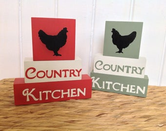 Country Kitchen -  Shelf Decor Blocks, wooden blocks, quote blocks, shelf sitter blocks, cottage kitchen decor, farmhouse kitchen