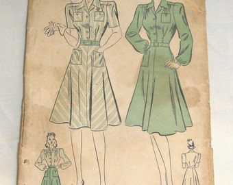 "Vintage 1940's Advance 2 Style Dress Pattern #2496 - 36"" Bust 30"" Waist"