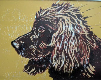 Spaniel - a limited edition hand pulled linoprint
