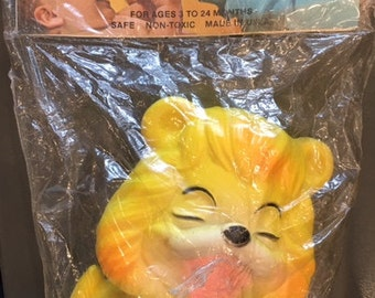 Vintage 1960s Baby Joy Originals Lion Squeaky Toy for Babies kitschy Cute Louis A Boettiger Co Hewlett, NY retro safe non-toxic