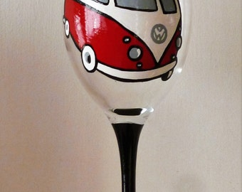 Hand Painted VW Camper Van Wine Glass - Can be Personalised