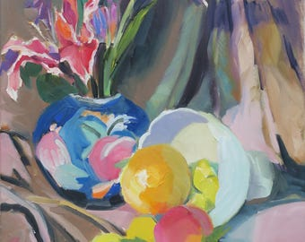 pink impressionist lilies - still life oil painting lilies - still life painting fruit - colorful still life painting -abstract still life