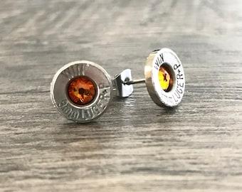Bullet Shell Earrings, Bullet Jewelry, Bullet Studs, Stud Earrings, Southern Jewelry, Luger Earrings, Bullet Casing Jewelry, Gift for her