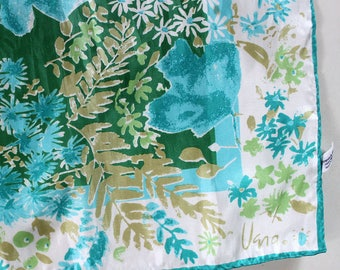 Vintage Vera Scarf. Blue and green flowers and fronds, vintage 1970s oblong.