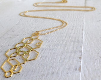 All Hexed Out Hexagon Necklace, Gold Necklace, Silver Necklace, Long Necklace, Geometric Necklace, Geometric Jewelry, Christmas Gift