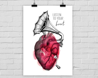 "fine-art print poster ""Listen to your heart"" anatomy anatomical gramophone"