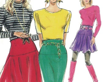 Totally '80s Skirts! Vintage c. 1980s Burda Super Easy Sewing Pattern 4660, Misses' Flared and Pencil Skirt, Sizes 8-18, Uncut with FFs