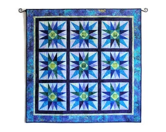 Star Burst Large Quilted Wall Hanging, BATIK Purple Turquoise and Green Star Quilt, Paper Pieced Stars, Quiltsy Handmade Patchwork Quilt