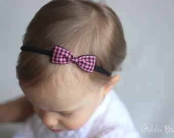 Gingham Headband -  Pink and Black Gingham Bow Handmade Baby Headband