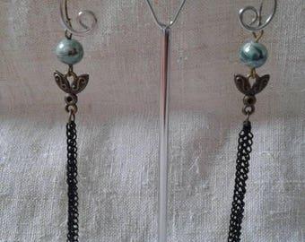 black and Pearl chain earrings
