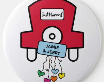 Magnetic Bottle Opener - Just Married / Thank you / Anniversary Design with names on.  Any wording.