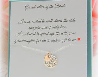 Grandmother of the Bride gift, Grandma of the Groom gift, Grandmother necklace, Grandma wedding jewelry, Personalized gifts for wedding